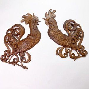 Vintage Searcy Metal Roosters Kitchen Decor USA